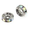 Rhinestone Rondelle (Flat Round) 8mm Gunmetal/ Crystal Aurora Borealis